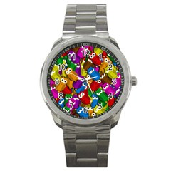 Cute owls mess Sport Metal Watch