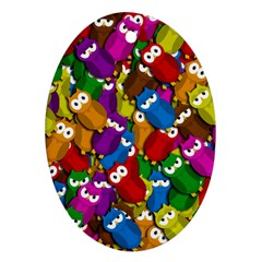 Cute owls mess Oval Ornament (Two Sides)