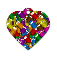 Cute owls mess Dog Tag Heart (One Side)