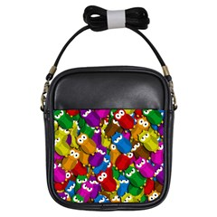 Cute owls mess Girls Sling Bags