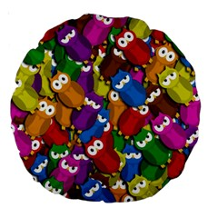 Cute owls mess Large 18  Premium Round Cushions
