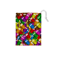 Cute owls mess Drawstring Pouches (Small)