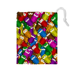 Cute owls mess Drawstring Pouches (Large)