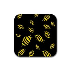 Decorative bees Rubber Square Coaster (4 pack)