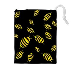Decorative bees Drawstring Pouches (Extra Large)