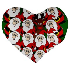 Did you see Rudolph? Large 19  Premium Flano Heart Shape Cushions
