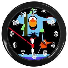 Abstract composition  Wall Clocks (Black)