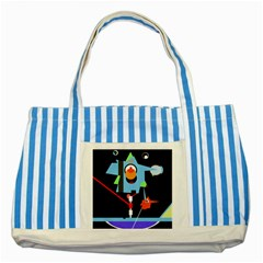 Abstract composition  Striped Blue Tote Bag