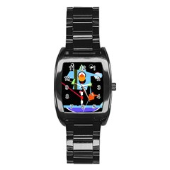Abstract composition  Stainless Steel Barrel Watch