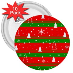 Xmas pattern 3  Buttons (10 pack)