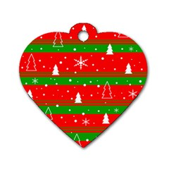 Xmas pattern Dog Tag Heart (Two Sides)