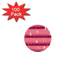 Pink Xmas 1  Mini Buttons (100 pack)