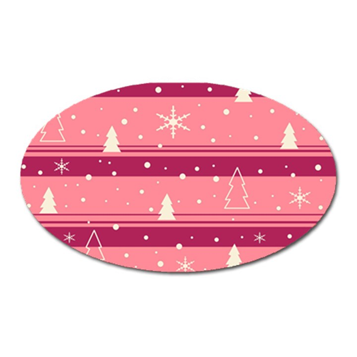 Pink Xmas Oval Magnet