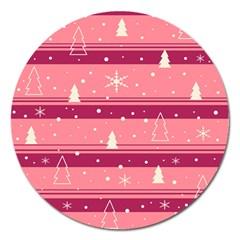 Pink Xmas Magnet 5  (Round)