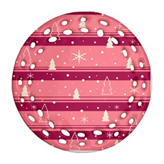 Pink Xmas Round Filigree Ornament (2Side)