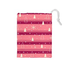 Pink Xmas Drawstring Pouches (Medium)