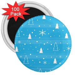 Blue Xmas 3  Magnets (100 pack)