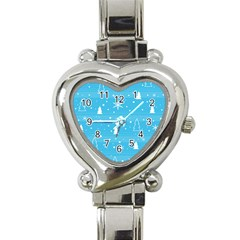 Blue Xmas Heart Italian Charm Watch