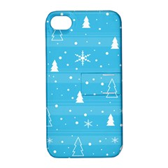 Blue Xmas Apple iPhone 4/4S Hardshell Case with Stand