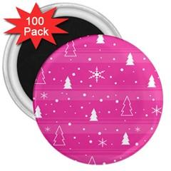 Magenta Xmas 3  Magnets (100 pack)
