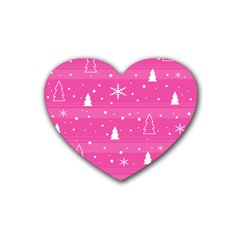 Magenta Xmas Heart Coaster (4 pack)