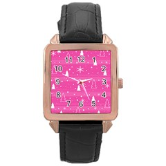 Magenta Xmas Rose Gold Leather Watch