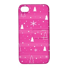 Magenta Xmas Apple iPhone 4/4S Hardshell Case with Stand