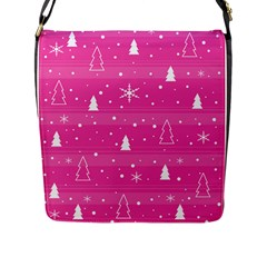 Magenta Xmas Flap Messenger Bag (L)
