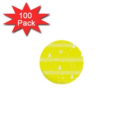 Yellow Xmas 1  Mini Buttons (100 pack)