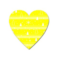 Yellow Xmas Heart Magnet