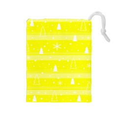 Yellow Xmas Drawstring Pouches (Large)