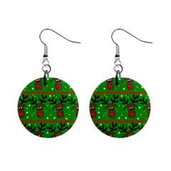 Reindeer pattern Mini Button Earrings