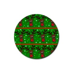 Reindeer pattern Rubber Round Coaster (4 pack)