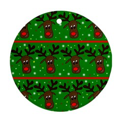 Reindeer pattern Round Ornament (Two Sides)