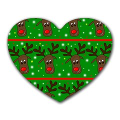 Reindeer pattern Heart Mousepads