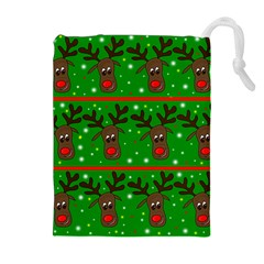Reindeer pattern Drawstring Pouches (Extra Large)