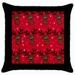 Reindeer Xmas pattern Throw Pillow Case (Black)