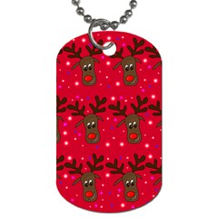 Reindeer Xmas pattern Dog Tag (Two Sides)