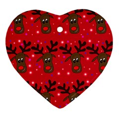Reindeer Xmas pattern Heart Ornament (2 Sides)