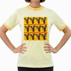 Christmas reindeer pattern Women s Fitted Ringer T-Shirts