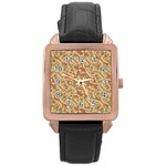 Geometric Bold Cubism Pattern Rose Gold Leather Watch  Front