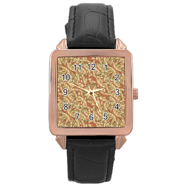 Geometric Bold Cubism Pattern Rose Gold Leather Watch