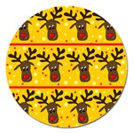 Christmas reindeer pattern Magnet 5  (Round) Front