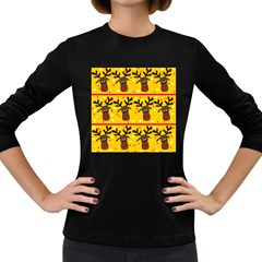 Christmas reindeer pattern Women s Long Sleeve Dark T-Shirts