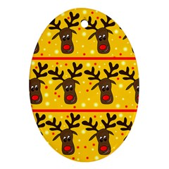 Christmas reindeer pattern Oval Ornament (Two Sides)
