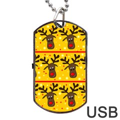 Christmas reindeer pattern Dog Tag USB Flash (One Side)