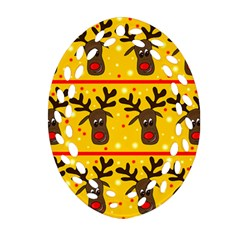 Christmas reindeer pattern Ornament (Oval Filigree)