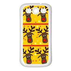 Christmas reindeer pattern Samsung Galaxy S3 Back Case (White)