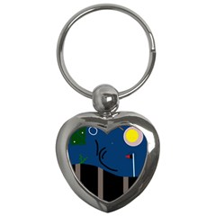 Abstract night landscape Key Chains (Heart)
