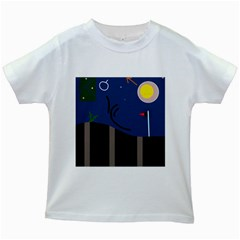 Abstract night landscape Kids White T-Shirts